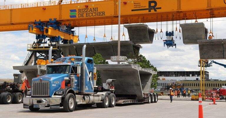 REM construction launching gantries – a first in Quebec