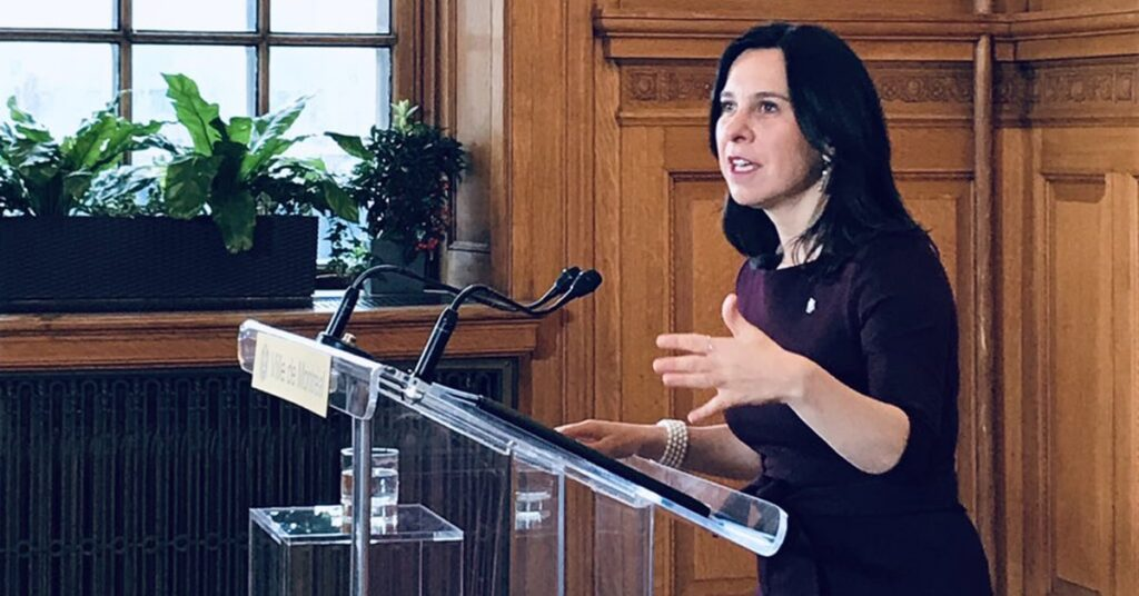 Montreal Mayor Valerie Plante reacts to Mount Royal project report