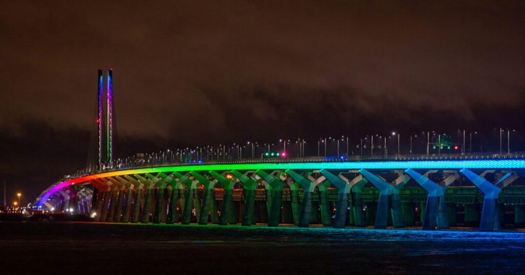 Champlain Bridge rainbow lighting