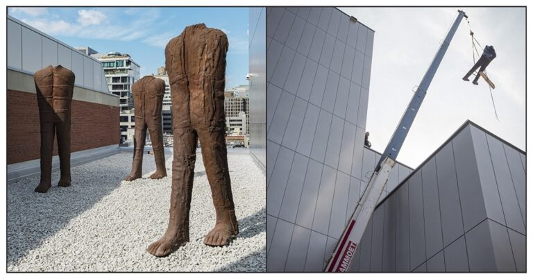 Three walking figures have joined the Montreal Museum of Fine Arts (video of installation)