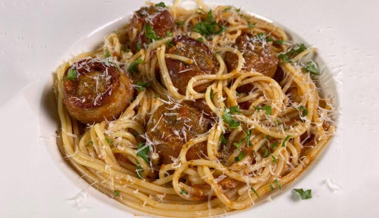 Spaghetti a la Marinara with bacon wrapped meatballs recipe